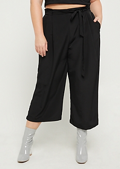 Plus Black Paper Bag Waist Pant