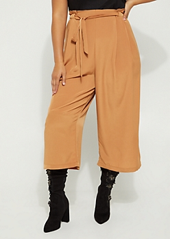 Plus Light Brown Paper Bag Waist Pant