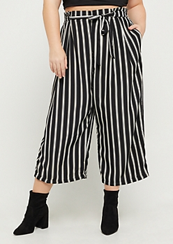 Plus Striped Paper Bag Waist Pant