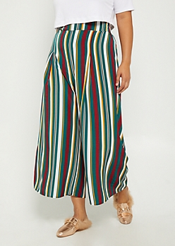 Plus Striped Woven Palazzo Pants