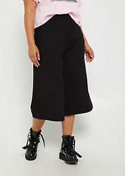 Plus Black Crepe Wide Leg Pant