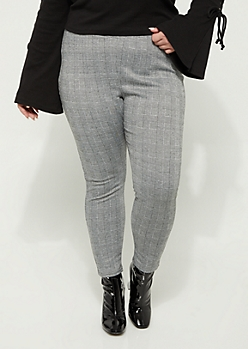 Plus Gray Houndstooth High Rise Pant