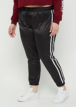 Plus Black Satin Jogger