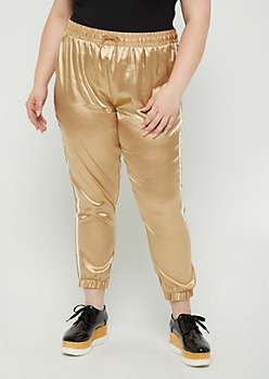 Plus Gold Satin Joggers