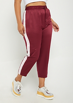Plus Burgundy Striped Satin Pant