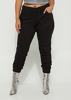 Plus Black Moto Ruched Jegging