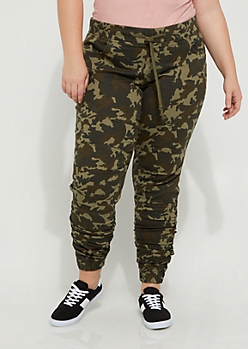 Plus Camo Moto Ruched Jegging