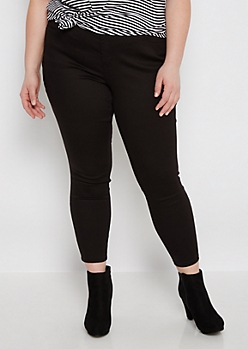 Plus Black Twill Ankle Jegging
