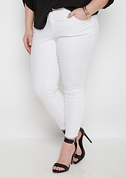 Plus White Twill Ankle Jegging
