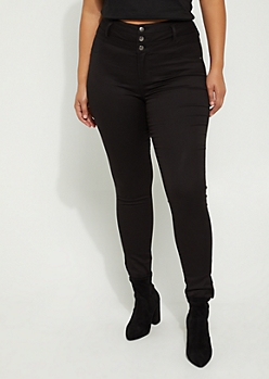 Plus Black 3-Shank High Rise Skinny Pant