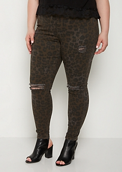 Plus Leopard Distressed High Rise Jegging