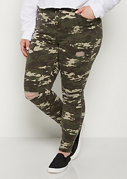 Plus Camo Distressed High Rise Jegging