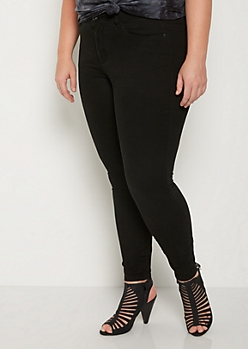 Plus Black Soft Mid Rise Jegging