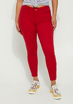 Plus Red Mid Rise Sateen Jegging