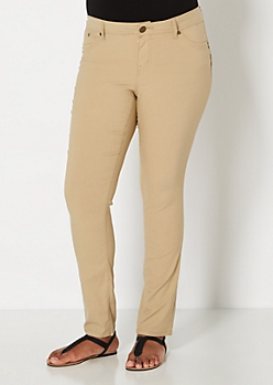 Plus Khaki Better Booty Twill Jegging In Long