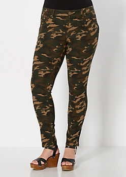 Plus Dark Olive Better Booty Twill Jegging In Long