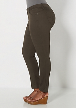 Plus Better Booty Olive Green Twill Pant