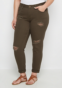 Plus Olive Destroyed Cuffed Skinny Pant