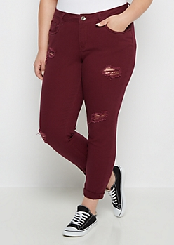 Plus Burgundy Destroyed Cuffed Skinny Pant