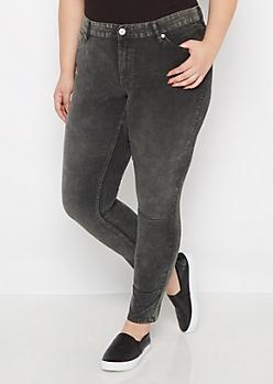 Plus Dark Green Acid Wash Corduroy Skinny Pant