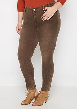 Plus Brown Acid Wash Corduroy Skinny Pant