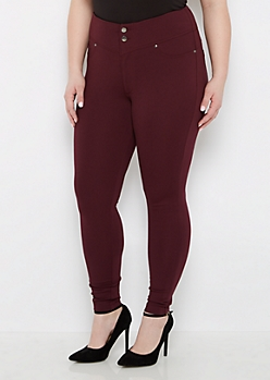 Plus Plum High Waist Slimming Ponte Pant
