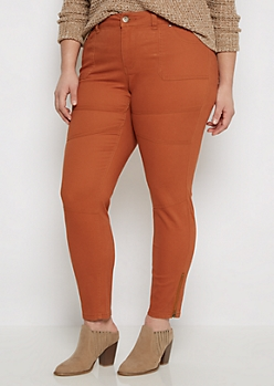 Plus Brown Zip Ankle Moto Skinny Pant