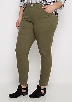 Plus Olive Zip Ankle Moto Skinny Pant