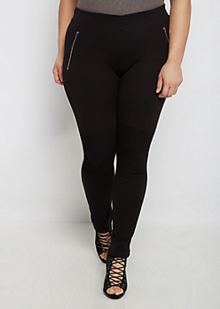 Plus Black Moto Knee Skinny Ponte Pant