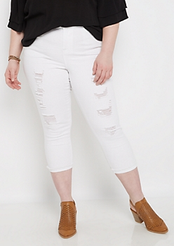 Plus White Destroyed High Waist Cropped Pant