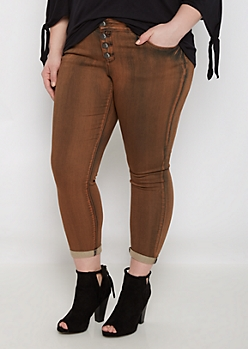 Plus Brown Wash Cuffed Cropped Jegging