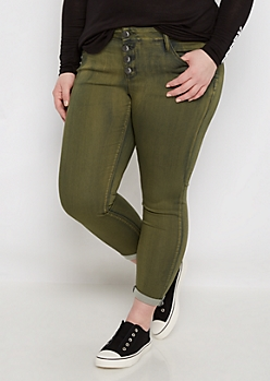 Plus Olive Wash Cuffed Cropped Jegging