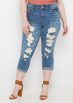 Plus Distressed High Waist Cropped Skinny Jean