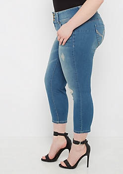 Plus Distressed Better Butt Ankle Jean