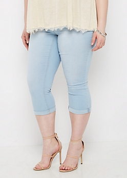 Plus Light Blue Vintage Better Butt Cropped Jean