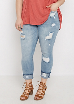 Plus Destroyed Lace Inset High Waist Cropped Jean