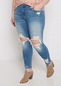 Plus Destroyed Vintage Ankle Jean