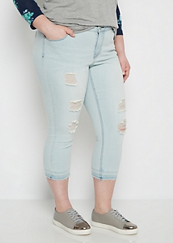 Plus Destroyed High Waist Cropped Jean