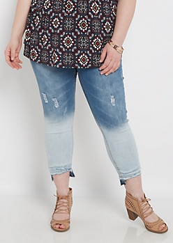 Plus Ombre Stepped Hem Cropped Jegging