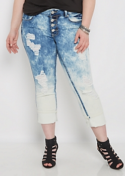 Plus Acid Wash Distressed Cropped Jean