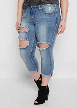 Plus Ripped Cuffed & Cropped Jean