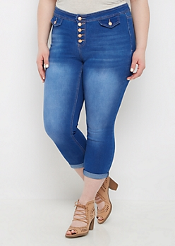 Plus Sandblasted 5-Shank Cropped Jean