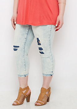Plus Destroyed Aztec Cropped Jean