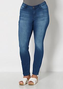 Plus Medium Blue Brushed Skinny Jean
