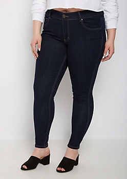 Plus Dark Blue Mid Rise Jegging in Short