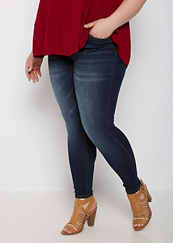 Plus Dark Blue Sandblasted Jegging in Curvy