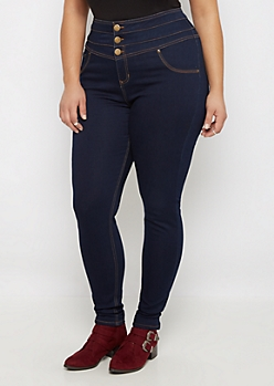 Plus Flex High Waist Contrast Stitch Jegging