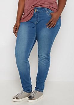 Plus Sandblasted 2-Shank Skinny Jean