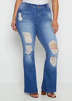 Plus Flex Destroyed Flare Jean in Curvy