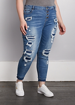 Plus Distressed Patch High Rise Jegging